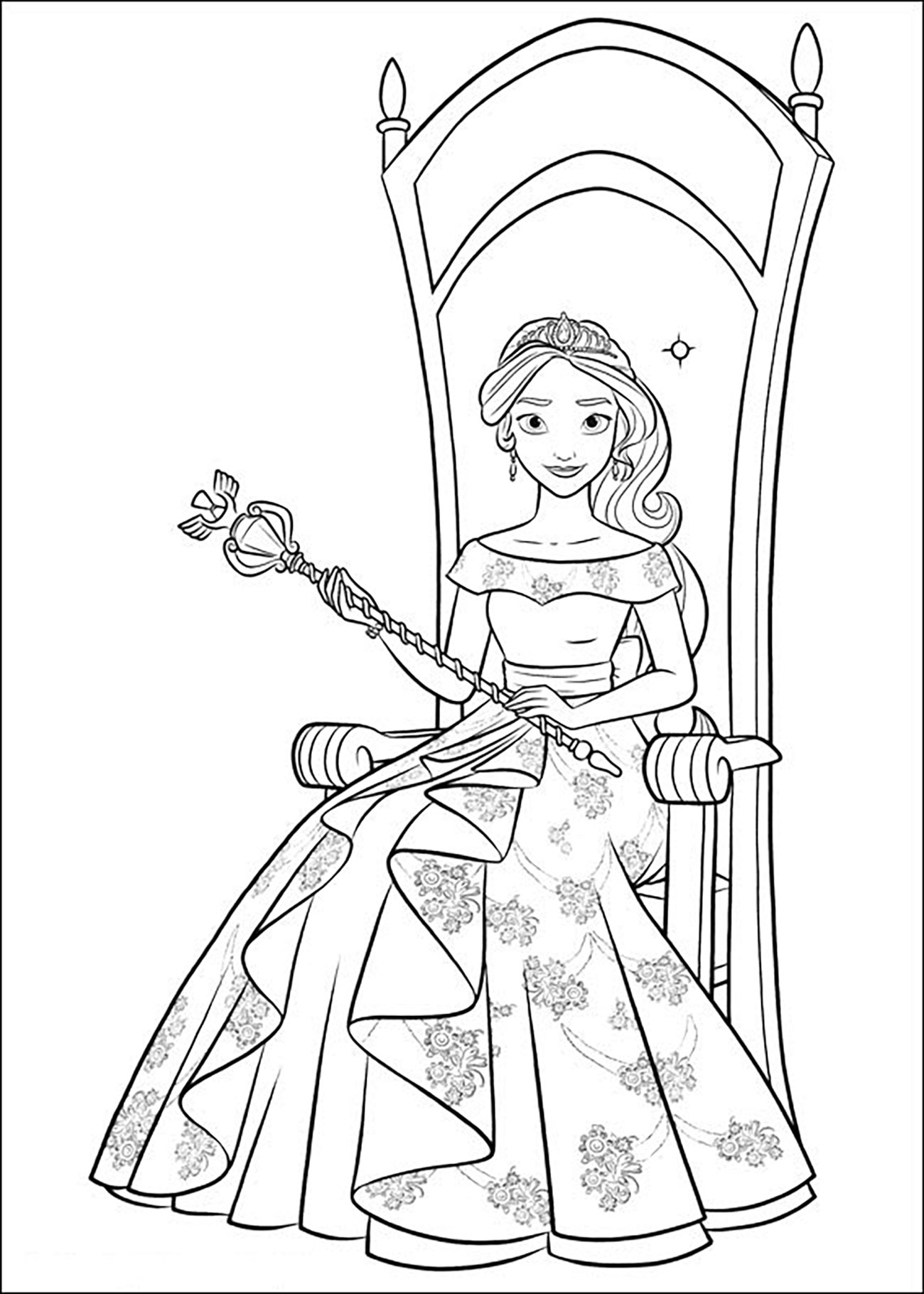 Elena avalor 82540 elena avalor coloring for kids for Elena of avalor coloring pages