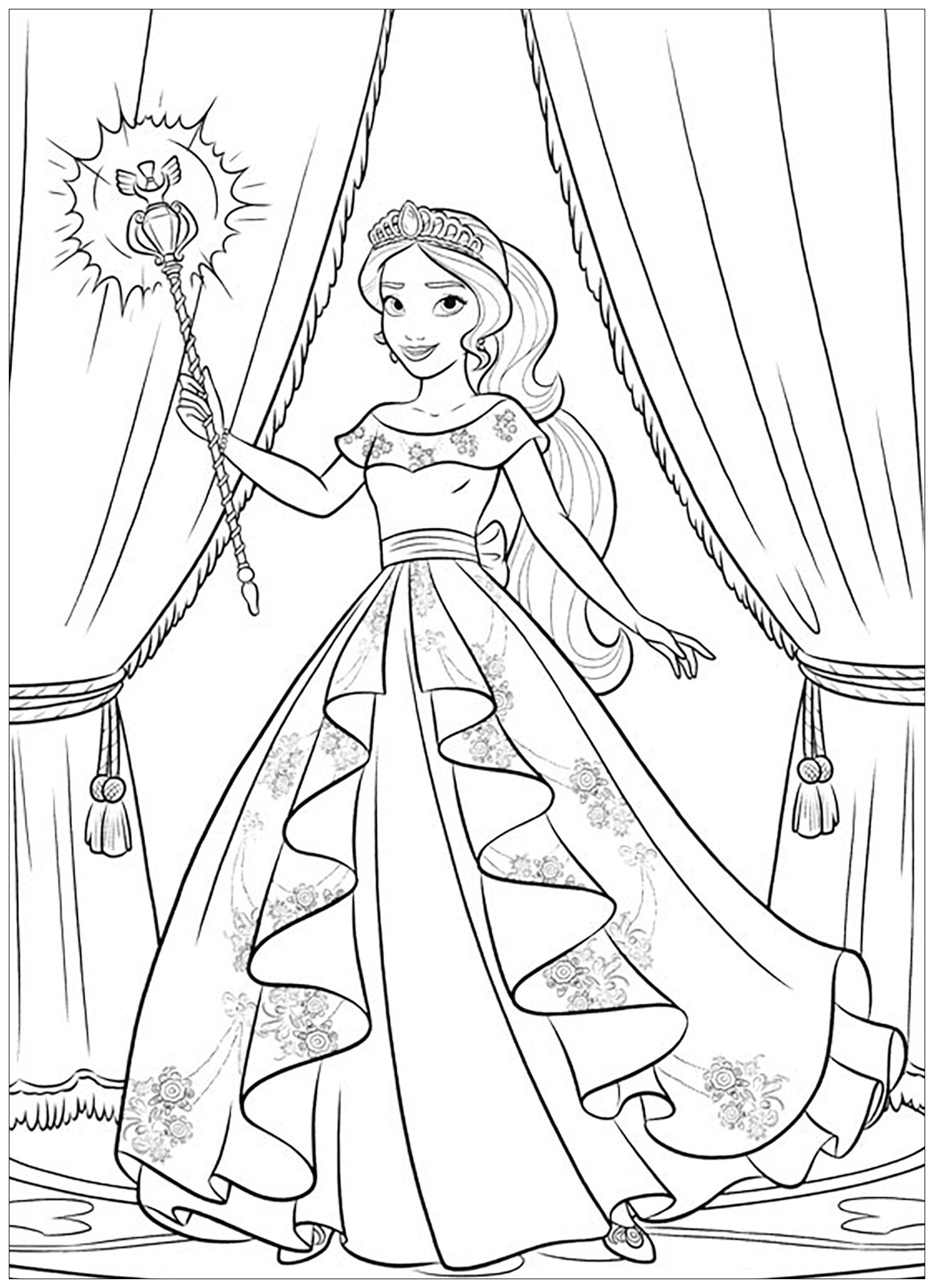 Elena avalor 91671 elena avalor coloring for kids for Elena of avalor coloring pages